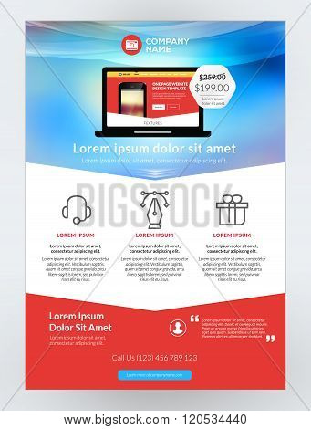Vector Business Flyer Design Template For Mobile Application Or New Smartphone. Vector Brochure Desi