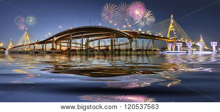 Rope bridge beautiful bridge in Bangkok, Thailand.