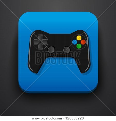 Black gamepad symbol icon on blue