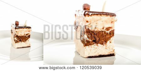 Chocolate Cheesecake Isolated On White Background