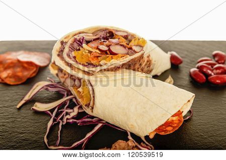 Mexican Tortilla With Bean, Beef And Tomato.