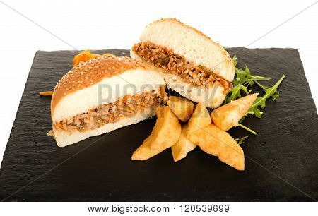 Sloppy Joe Minced Meat Sandwich With French Fries And Green Salad