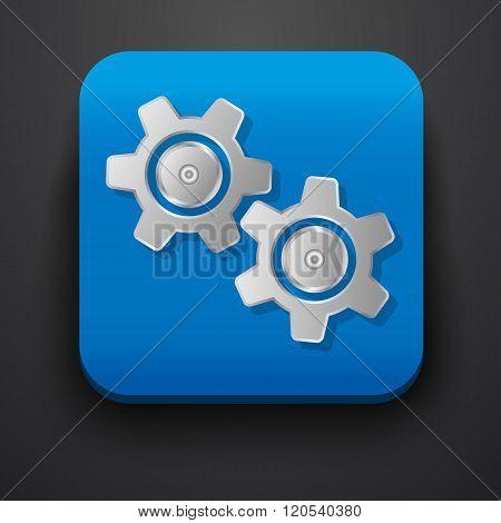 Setting gear symbol icon on blue