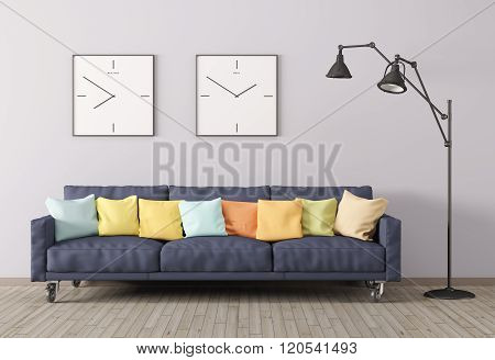Modern Interior Of Living Room With Sofa And Floor Lamp 3D Render