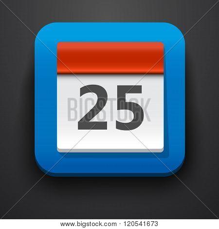 Calendar symbol icon on blue