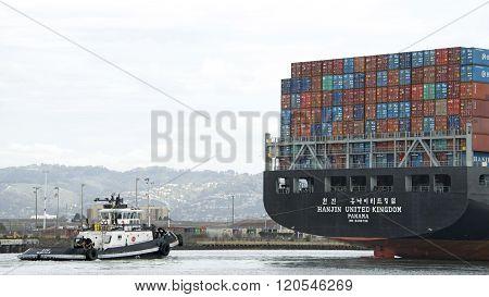 Cargo Ship Hanjin United Kingdom Departing The Port Of Oakland