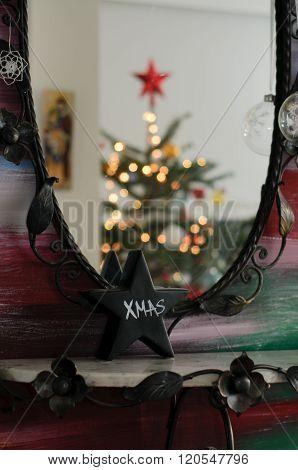 Mirror Reflection of Christmas Tree
