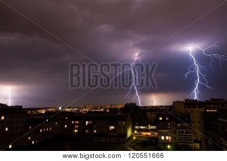 Lightning Storm Over City.