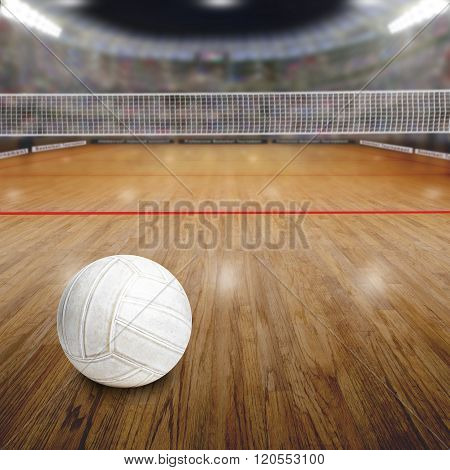 Volleyball Court With Ball On Wood Floor And Copy Space