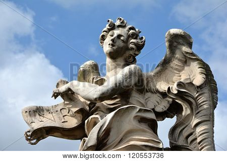 Angel In Ectasy With Inri Sign From Ponte Sant'angelo, In Rome