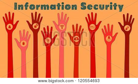Information Security Threats Concept Illustration With Red Hands
