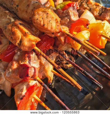 Brochettes With Grilled Meat And Vegetables