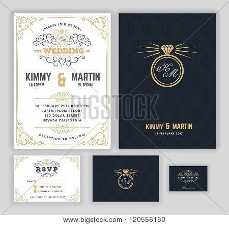 Creative wedding invitations with flourish and twirls design