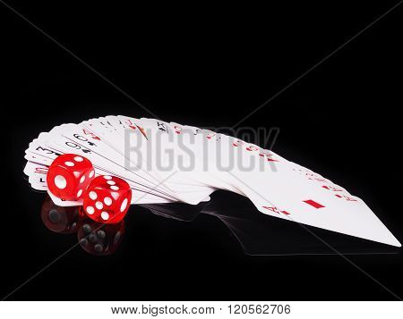 Dice, Cards On A Black Background. Concept Of Gambling