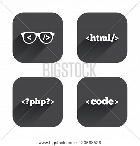 Programmer coder glasses. HTML markup language.