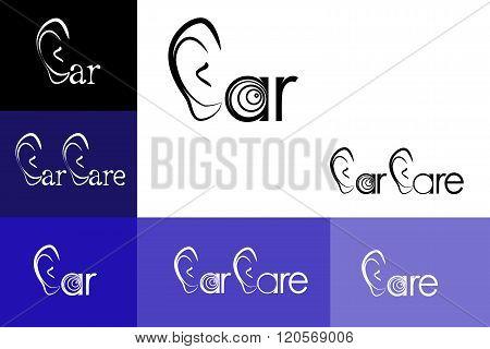 illustration of the Ear Care logo emblem otolaryngology.