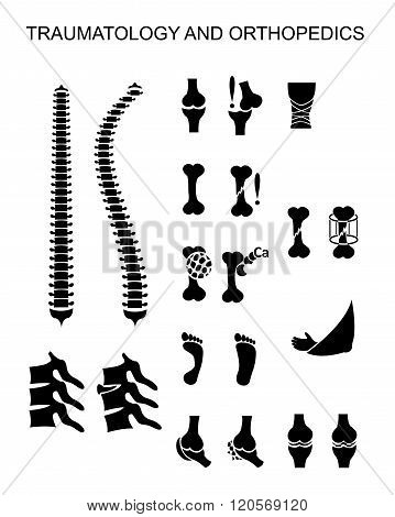 Clipart. Illustrations of the traumatology and orthopedics icons symbols for infographics or medicine design
