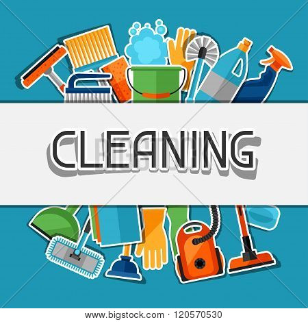 Housekeeping background with cleaning sticker icons. Image can be used on advertising booklets, bann
