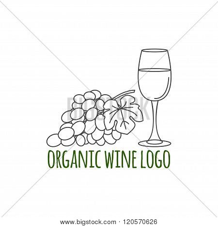 Modern Line Style Logo With Grapes, Leaf  And Glass Of Wine.  Winery Symbol. Vector Illustration.  T