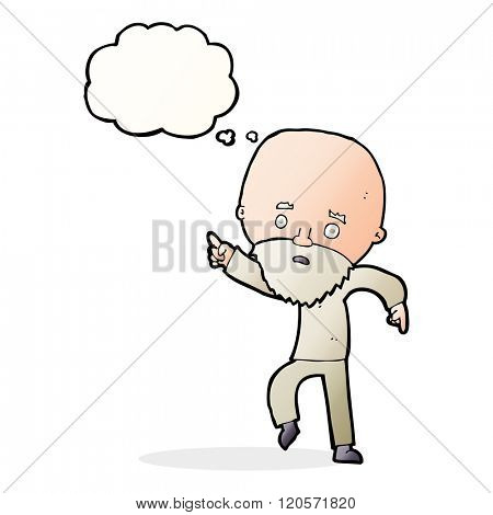 cartoon worried old man pointing with thought bubble
