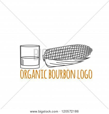 Modern Line Style Logo, Branding,  Logotype,  Badge  With Corn And A Glass Of Bourbon.  Distillery S