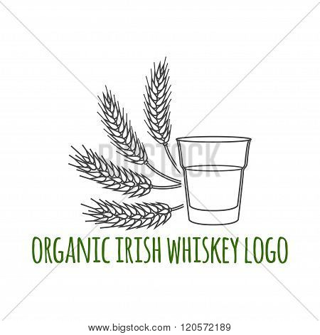 Modern Line Style Logo, Branding,  Logotype,  Badge  With Ears Of Barley, Wheat And A Glass Of Irish