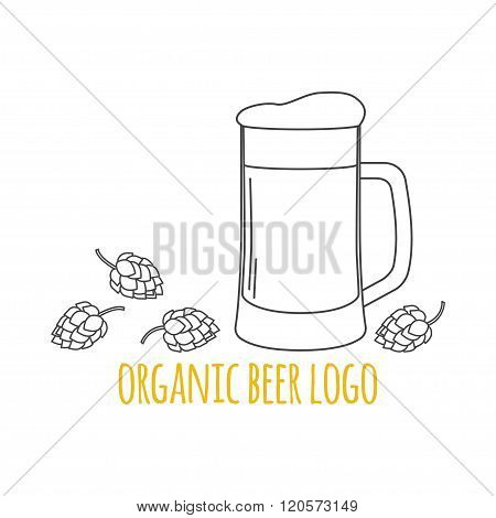 Modern Line Style Logo, Branding,  Logotype,  Badge  With Hops And A Glass Of Beer.  Beer Symbol. Ve