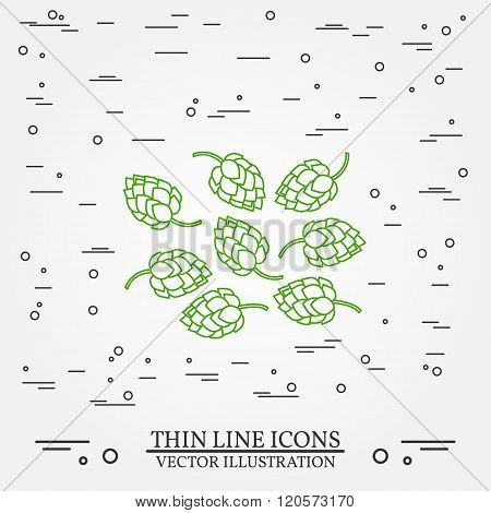 Hops Thin Line Design. Hops Pen Icon. Hops Pen Icon Vector. Hops Pen Icon Drawing. Hops Pen Icon Ima
