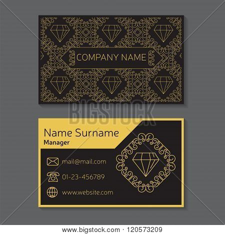 Business Card. Vector Editable Template Include Front And Back Side, Geometric Seamless Pattern And