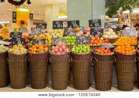 BANGKOK THAILAND - NOVEMBER 19 2013 : Selection fruits in a supermarket Siam Paragon in Bangkok Thailand. Siam Paragon is a one of the biggest shopping centres in Asia.