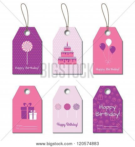 Happy Birthday vector tags, labels