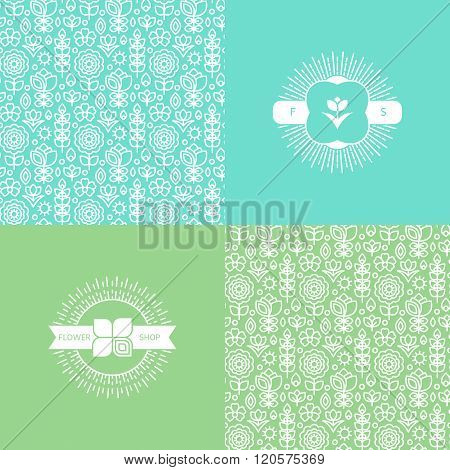 set with pretty flower patterns and backgrounds