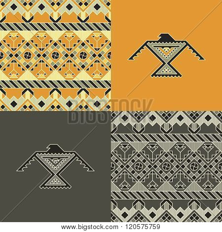 set with indian patterns and backgrounds with eagles