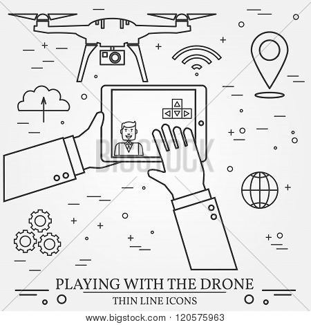 Playing With The Drone, Copter.  Remote Control With Mobile Phones, Tablet Computer, Smart Watch. Th