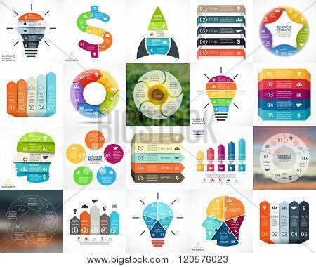 Vector circle infographics. Business diagrams, arrows graphs, blur linear presentations, idea cycle