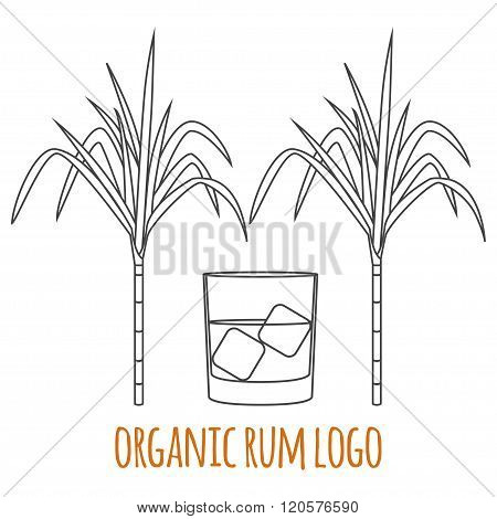 Modern Line Style Logo, Branding,  Logotype,  Badge  With Sugar Cane And A Glass Of Rum.  Rum Symbol