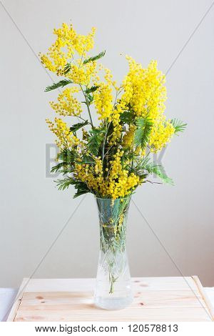Mimosa In A Vase On A Wooden Tray