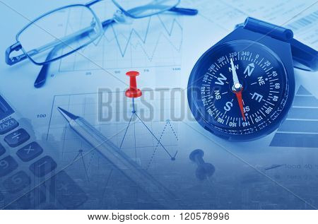 Double Exposure Of Blue Compass And Red Pin On City Background, Business Vision