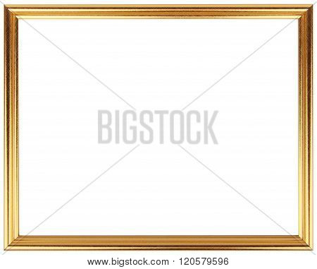 Gold vintage frame isolated on white. Gold frame abstract design.