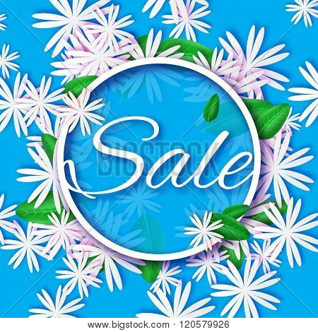 Abstract Blue White Spring Summer Sale colorful banner for business.
