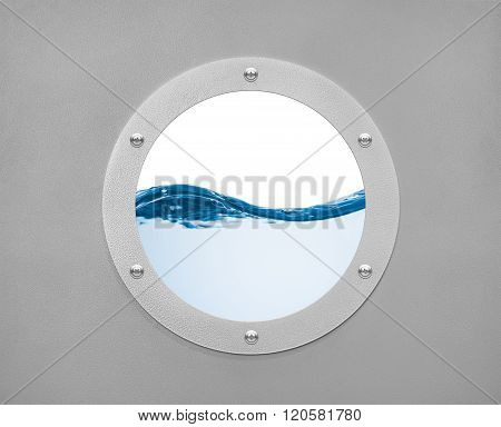 Round Porthole And Sea Wave With White Field