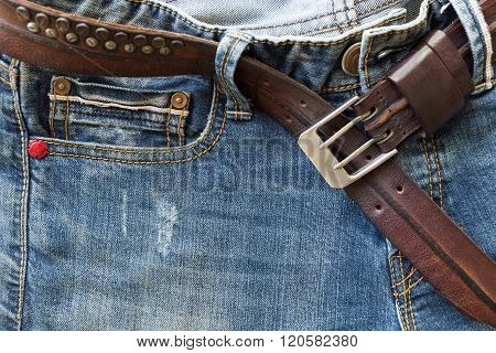 Blue Jeans With Brown Leather Belt
