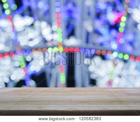 Empty Wooden Table Over Blurred Light Colorful Bokeh Background, For Product Display