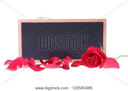Chalkboard Sign Blank Text Message With Red Rose Flower Isolated On White Background