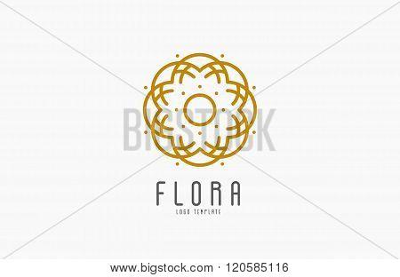 Abstract elegant flower logo icon vector design. Universal creative premium symbol. Graceful jewel v