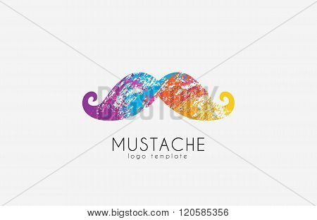 Mustache logo. Color mustache. Mustache in grunge style. Creative logo. Hipster logo.
