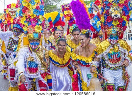 BARRANQUILLA COLOMBIA - FEB 07 : Participants in the Barranquilla Carnival in Barranquilla Colombia on February 07 2016. Barranquilla Carnival is one of the biggest carnival in the world ** Note: Soft Focus at 100%, best at smaller sizes