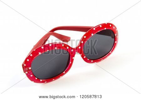 vintage red with white polka dots sunglasses