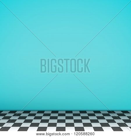 Turquoise Empty Scene With Checkerboard Floor