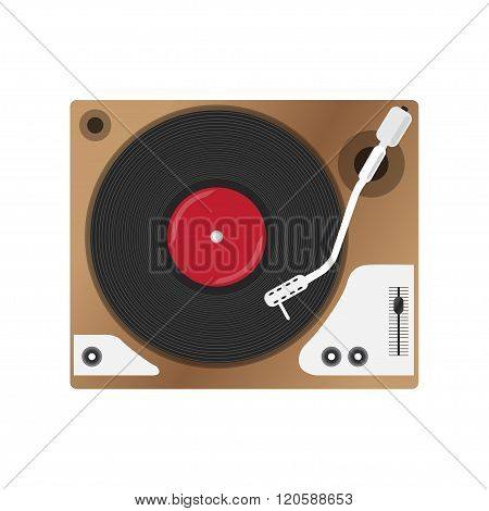 Record player with vinyl record, isolated. vector illustration.